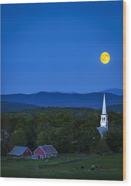 Blue Moon Rising Over Church Steeple Wood Print