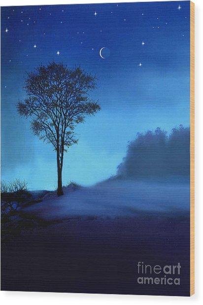 Blue Moon Wood Print by Robert Foster