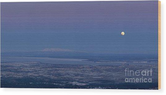 Blue Moon Setting Wood Print by Tim Grams