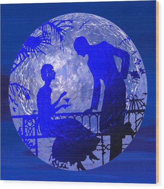 Blue Moonlight Lovers Wood Print