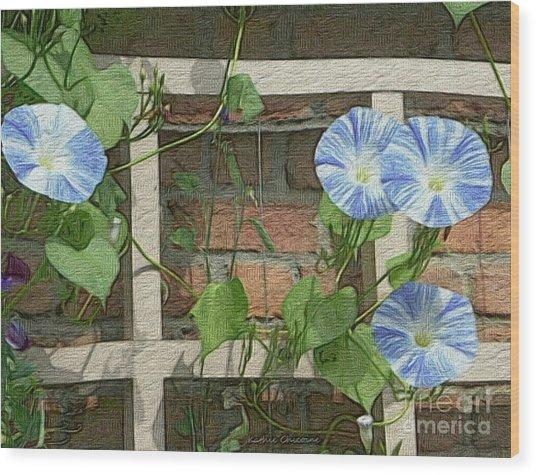 Blue Morning Glories Wood Print