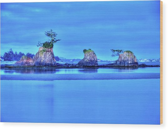 Blue Morning Siletz Bay Oregon Wood Print