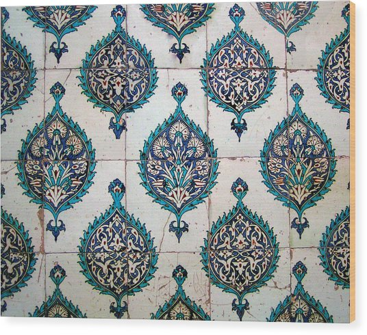 Blue Mosque Tiles Wood Print