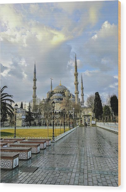 Blue Mosque Wood Print
