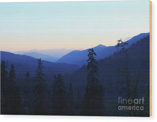 Blue Mountain Layers Wood Print
