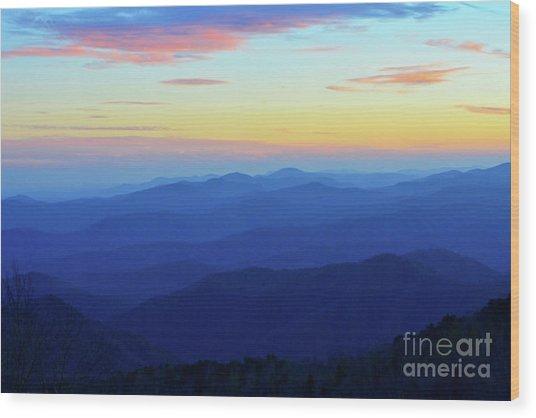 Blue Mountain Majesty Wood Print