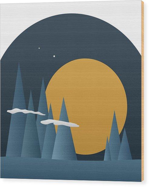 Blue Mountain Sunset Wood Print by Frank Tschakert