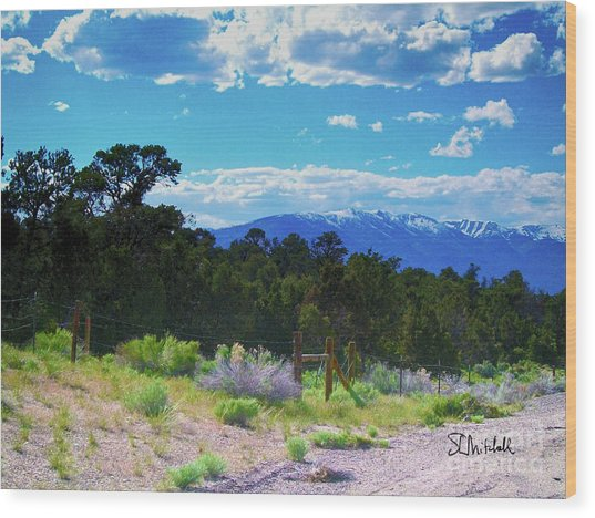 Blue Mountain West Wood Print