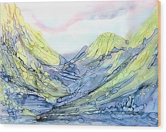 Blue Mountains Alcohol Inks  Wood Print