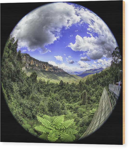Blue Mountains Fisheye Wood Print
