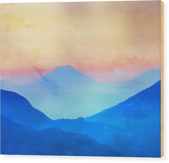 Blue Mountains Watercolour Wood Print