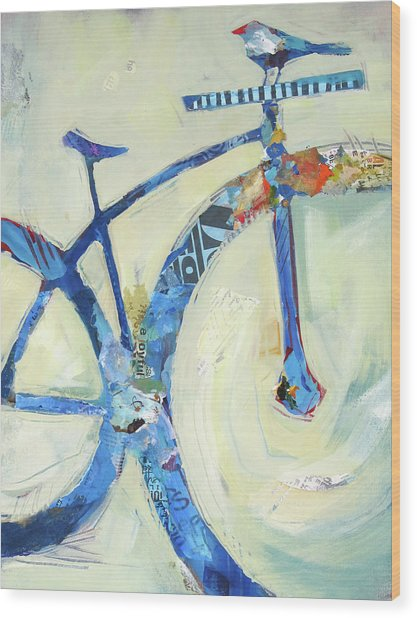 Blue Mt Bike And Bird Wood Print