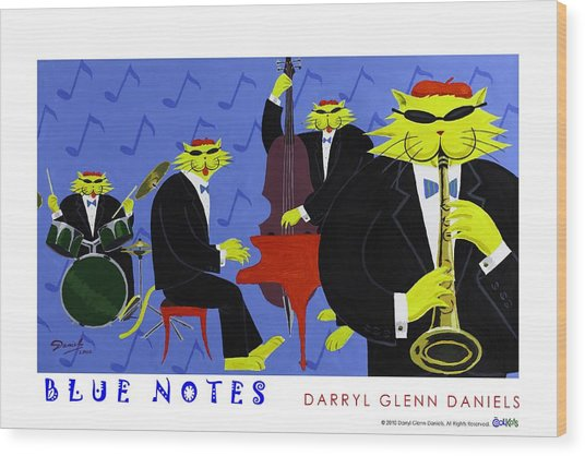 Blue Notes Wood Print