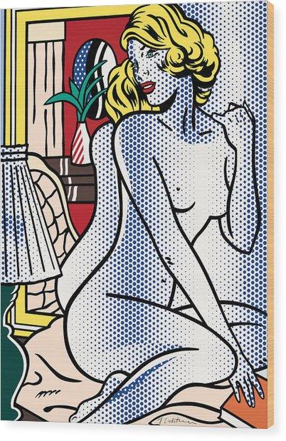 Blue Nude - Pop Art - Roy Lichtenstein Wood Print
