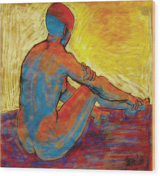 Blue Nude Wood Print by Ilene Skeen