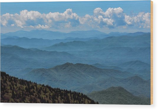 Blue On Blue - Great Smoky Mountains Wood Print
