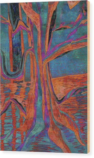 Blue-orange Warm Dusk River Tree Wood Print