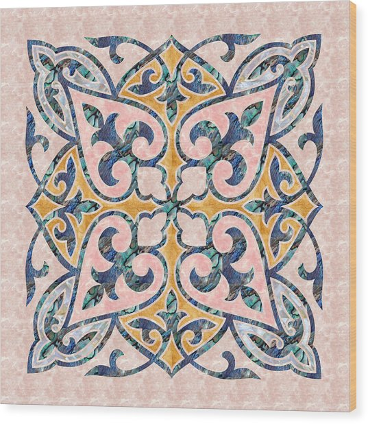Blue Oriental Tile 01 Wood Print