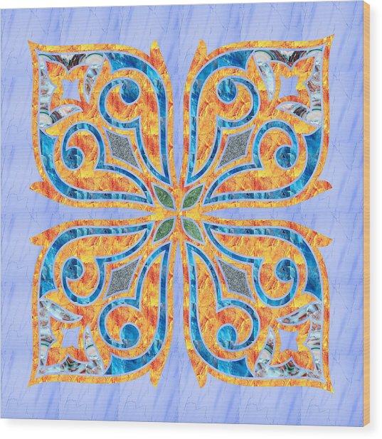 Blue Oriental Tile 02 Wood Print