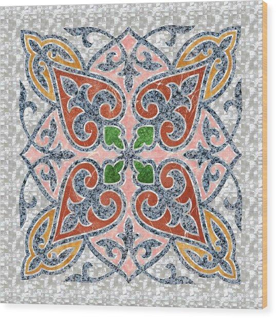 Blue Oriental Tile 03 Wood Print