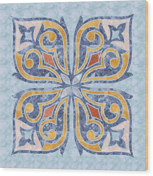 Blue Oriental Tile 04 Wood Print