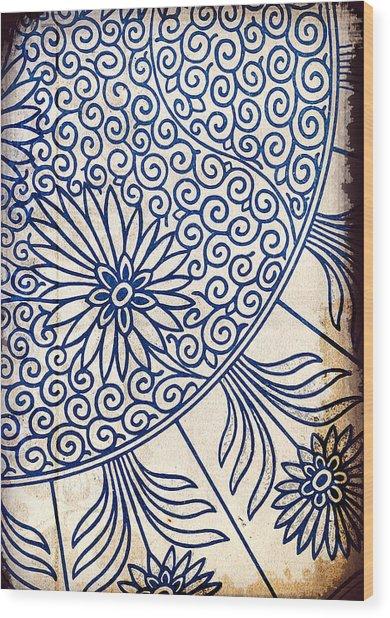 Blue Oriental Vintage Tile 01 Wood Print