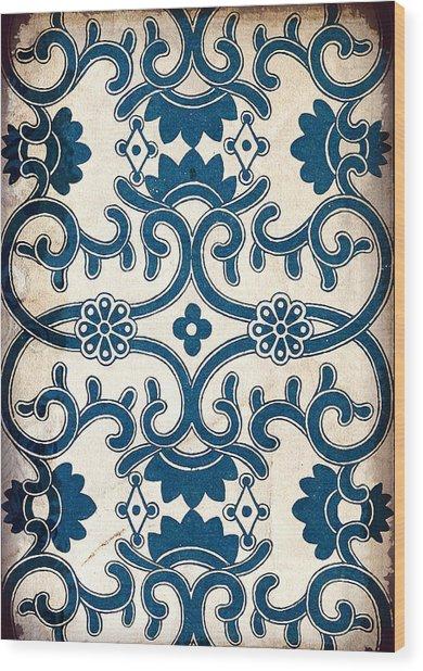 Blue Oriental Vintage Tile 02 Wood Print