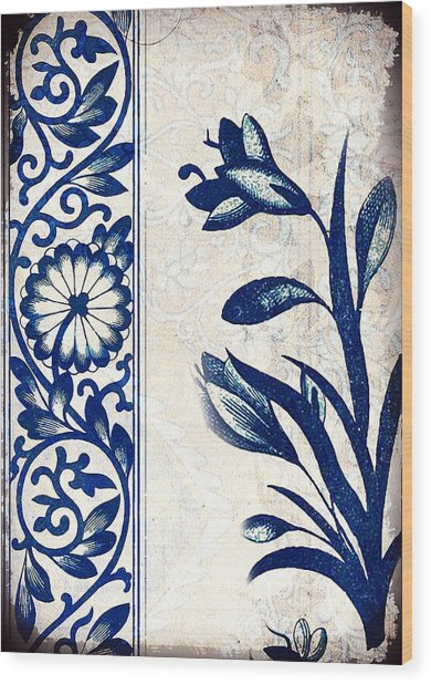 Blue Oriental Vintage Tile 03 Wood Print