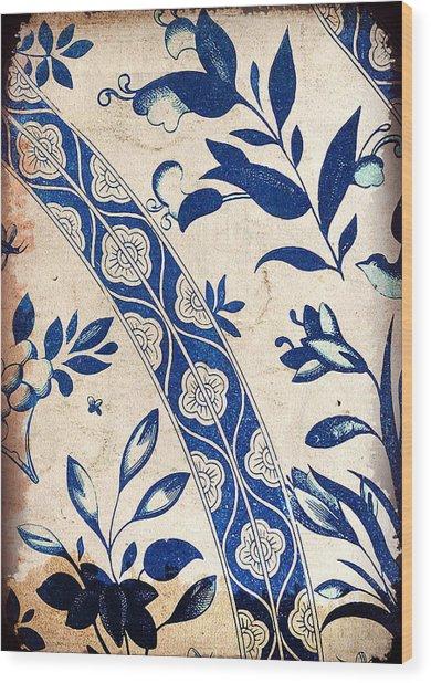 Blue Oriental Vintage Tile 04 Wood Print