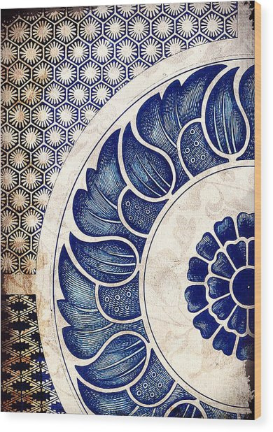Blue Oriental Vintage Tile 05 Wood Print