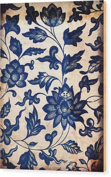 Blue Oriental Vintage Tile 06 Wood Print