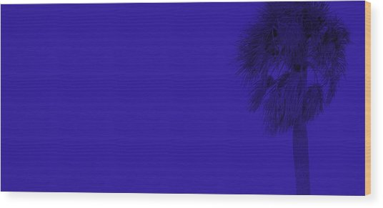 Blue Palm Wood Print