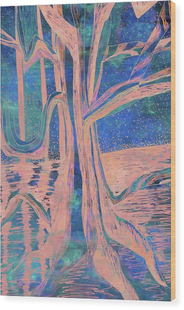 Blue-peach Dawn River Tree Wood Print