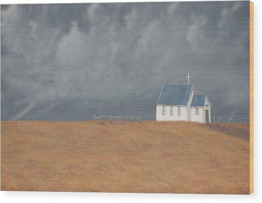 Blue Plains Church Wood Print by Candace Shockley