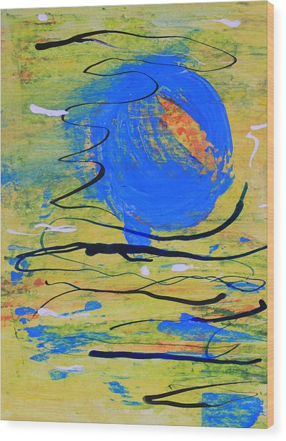 Blue Planet Abstract Wood Print