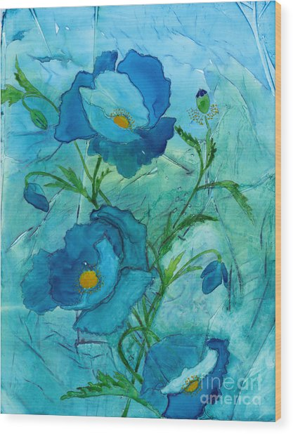 Blue Poppies, Watercolor On Yupo Wood Print