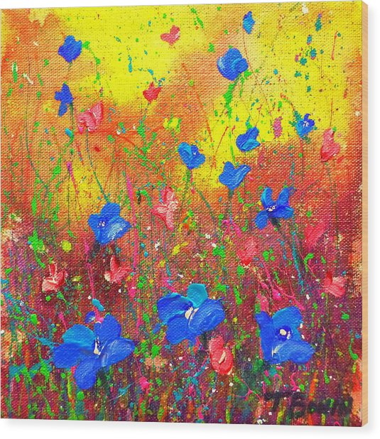 Blue Posies Wood Print