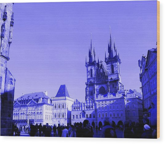 Wood Print featuring the photograph Blue Praha by Michelle Dallocchio