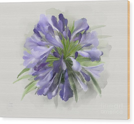 Blue Purple Flowers Wood Print