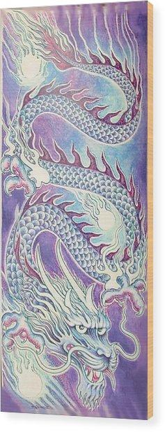 Blue Purple Japanese Dragon Wood Print