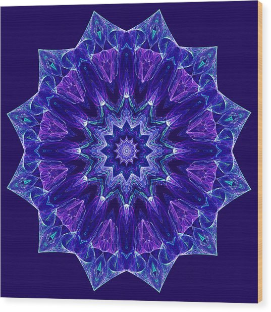 Blue And Purple Mandala Fractal Wood Print