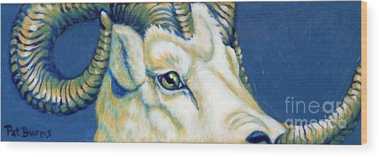 Blue Ram Wood Print