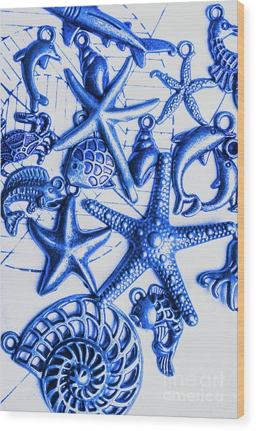 Blue Reef Abstract Wood Print
