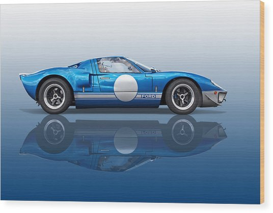 Blue Reflections - Ford Gt40 Wood Print