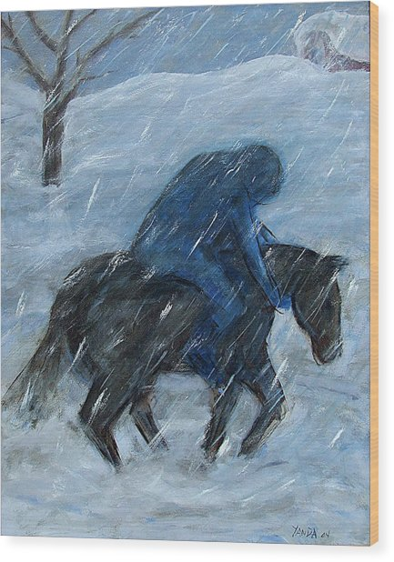 Blue Rider On Horse Wood Print