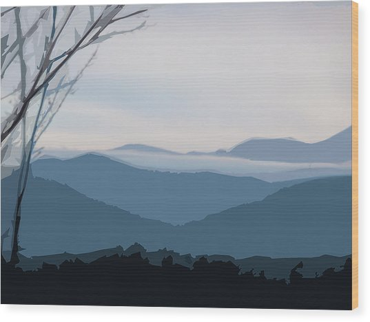Blue Ridge Above The Clouds Wood Print