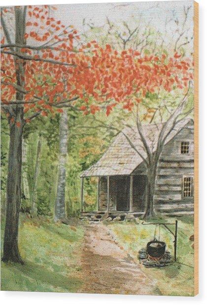 Blue Ridge Cabin Wood Print