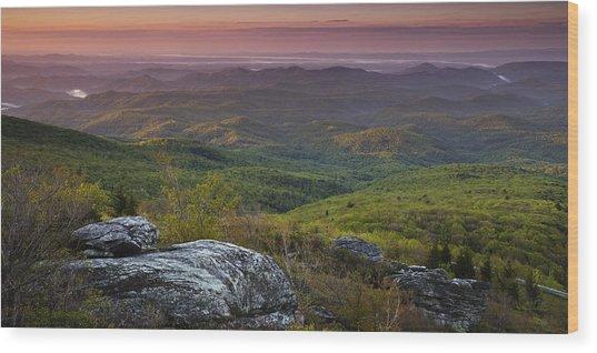 Blue Ridge Dawn Panorama Wood Print