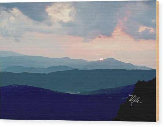 Blue Ridge Mountain Sunset Wood Print