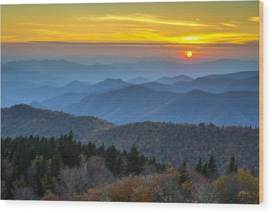 Blue Ridge Parkway Sunset - For The Love Of Autumn Wood Print